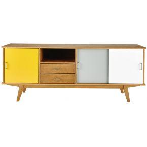 Buffet vintage en bois jaune/gris/blanc l 180...