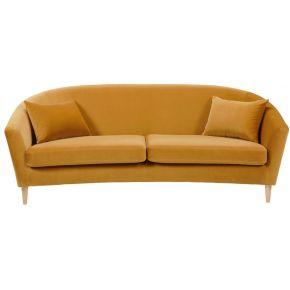 Canapé 4 places en velours jaune moutarde romy