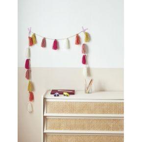 Guirlande pompons en laine multicolore