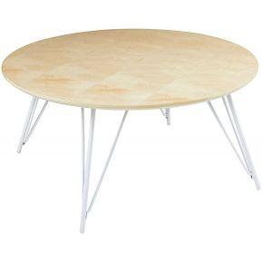 Table basse ronde en métal blanc d.80cm bow