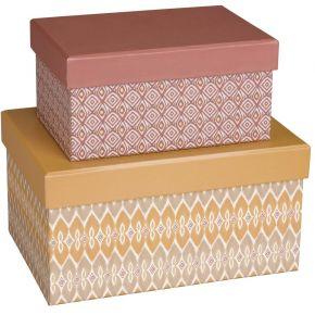 2 boîtes en carton motifs ikat